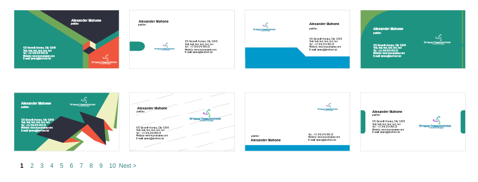 Examples of business cards from Logaster
